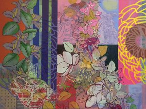 """Cherry Moon"", Acrylic on canvas, 36 (H) x 48"" (L), 2018"